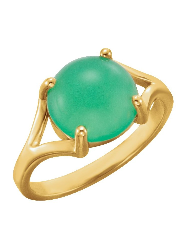14k Yellow Gold 10mm Round Chrysoprase Cabochon Halo Gemstone Ring by