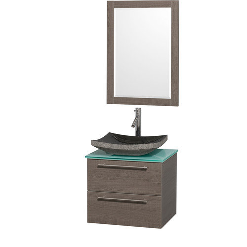Wyndham Collection Amare 24 inch Single Bathroom Vanity in Gray Oak with Green Glass Top with Black Granite Sink, and 24 inch Mirror