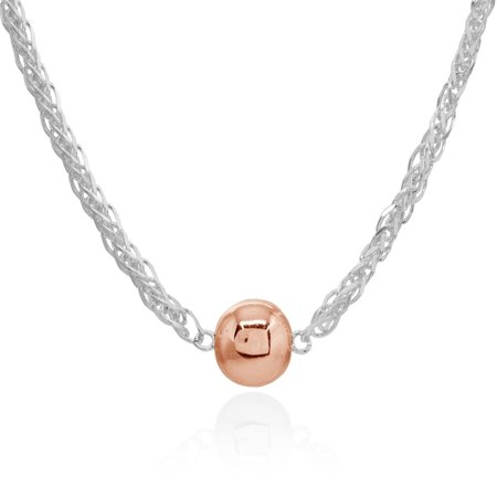 Mondevio  17 Inch Polished Bead Wheat Spiga Chain Necklace in Sterling Silver ()