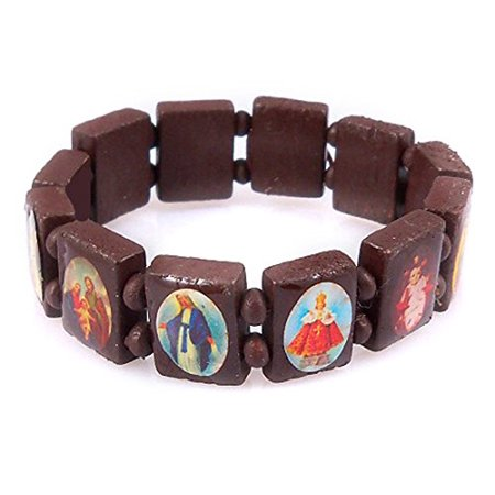 Brown Saints & Religious Icons Stretch Bracelet Wooden Wood Beads