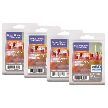 Better Homes & Gardens 2.5 oz Summer Strawberry Mimosa Scented Wax Melts, 4-Pack