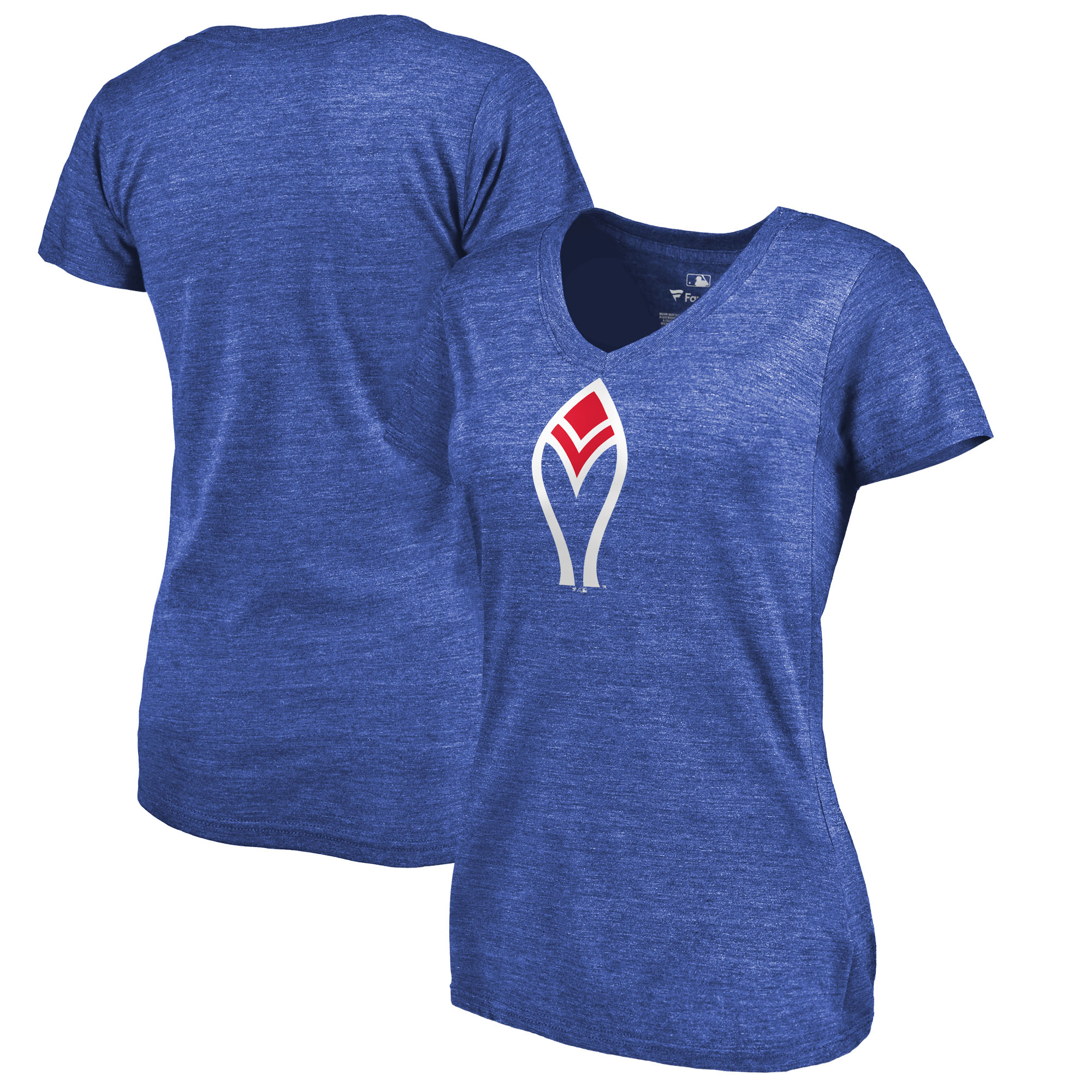 Atlanta Braves Fanatics Branded Women's Cooperstown Collection Forbes Tri-Blend V-Neck T-Shirt - Heathered Royal