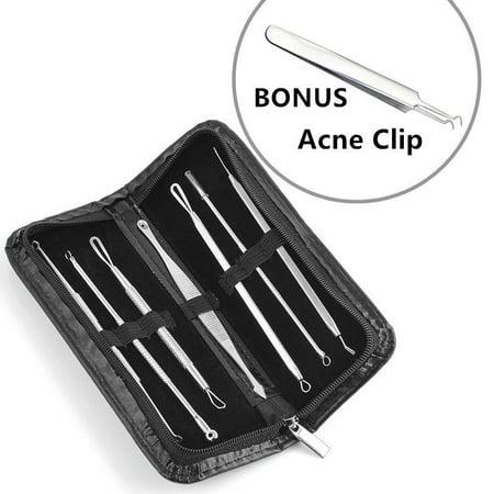 Acme Clip (7Pcs Set Blackhead Extractor Tool Remover Pimple Blemish Comedone Kit+Bonus Acne Clip )