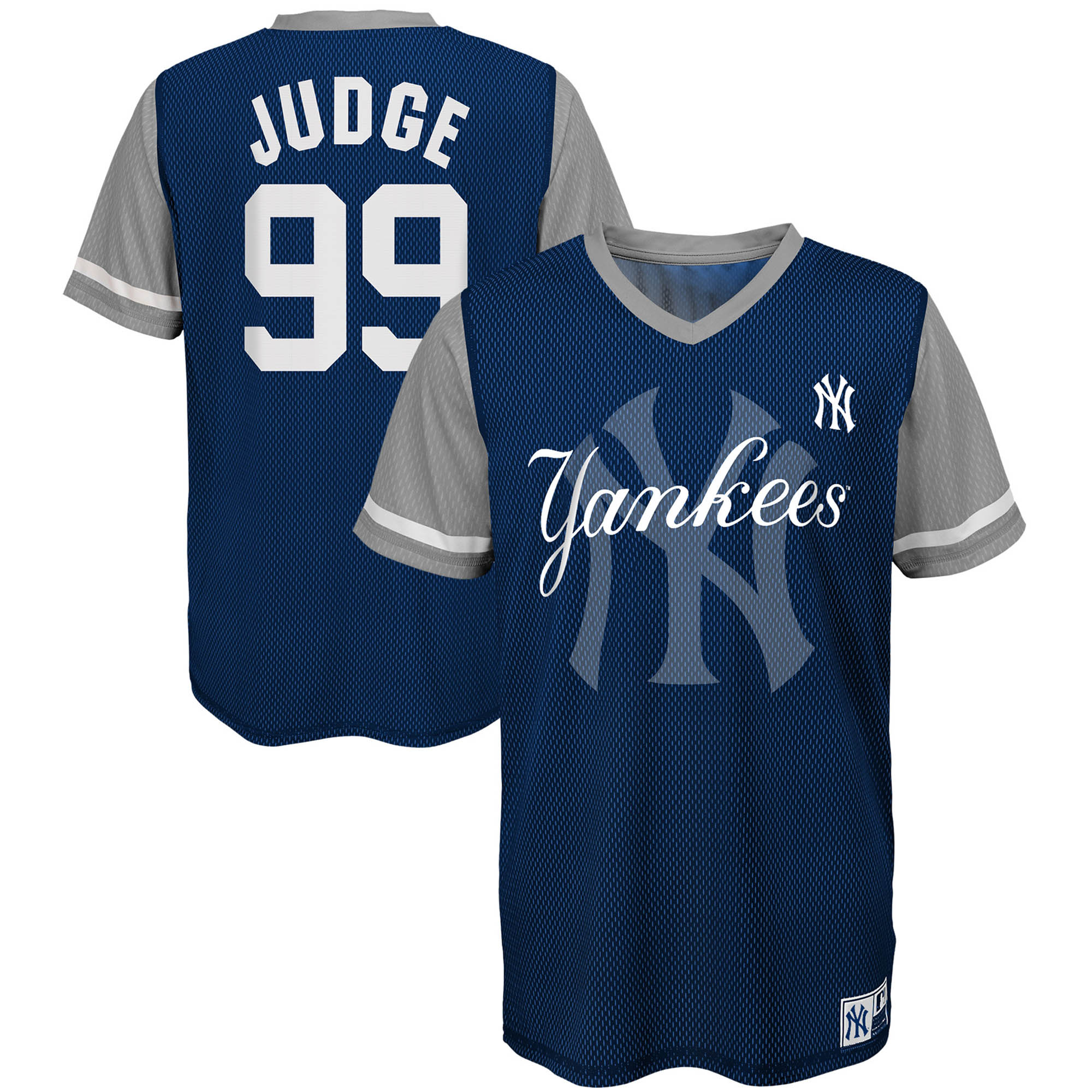 Aaron Judge New York Yankees Majestic Youth Play Hard Player V-Neck Jersey T-Shirt - Navy/Gray