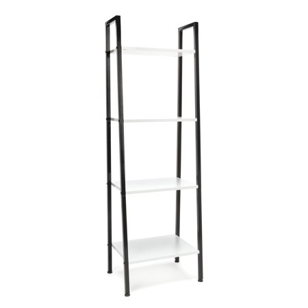 Essentials by OFM ESS-1045 4-Shelf Free Standing Ladder Bookshelf, White with Black Frame
