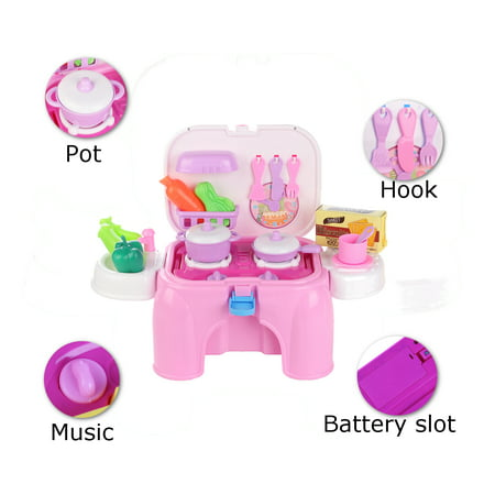 Play Food Dishes Set- Play Fruits - Play Dishes - Pots and Pans - Play Kitchen Cooking Playset Utensils - Mini Stove (lights & sounds) Best Gift For Toddlers Boy Girl - image 18 de 18