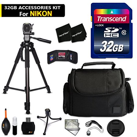 D500 Compressor - 32GB Accessory Kit for Nikon D500, D750, D7200, D7100, D810, D610, D5500, D5300, D3300, D3200, D5, D4x Digital Cameras includes 32GB High-Speed Memory Card + Fitted Case + 72 inch Tripod + MORE