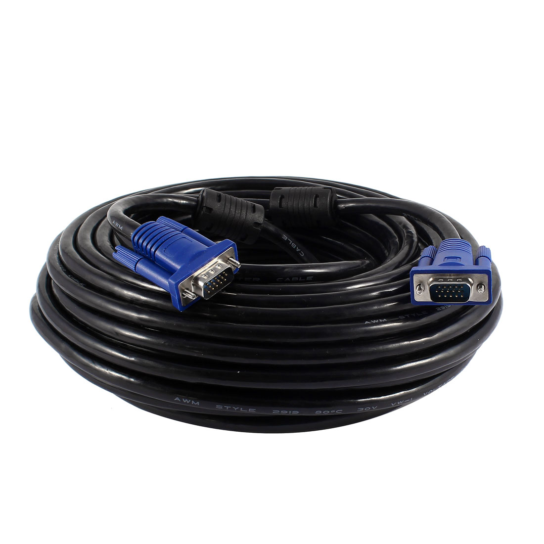 20M 65Ft VGA SVGA HD15 15Pin Male to Male M/M Adapter Monitor Cable Cord Black