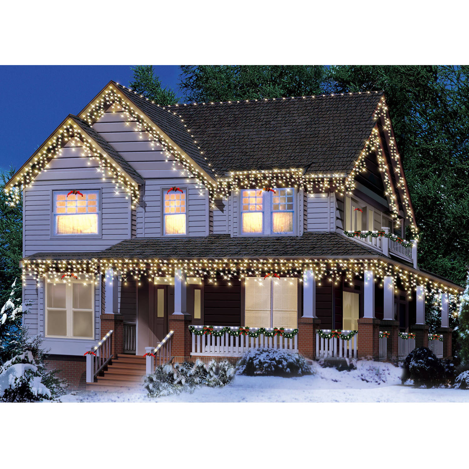 Holiday Time Icicle Christmas Lights Green Wire Clear, 300 Count