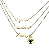 Marvel Captain Marvel Higher Further Faster Gold 3 Tiered Pendant Necklace