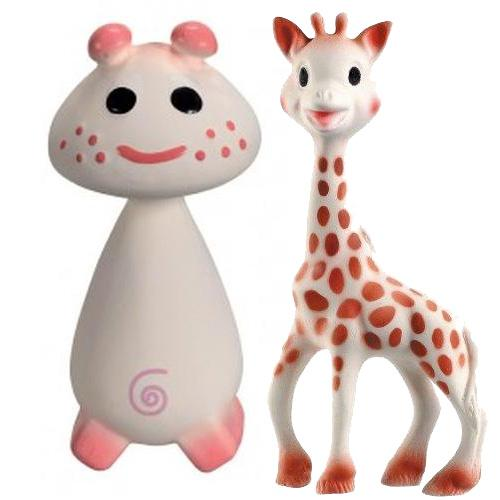 Vullie 616324-300198 Sophie Giraffe and Pink - Natural Teethers