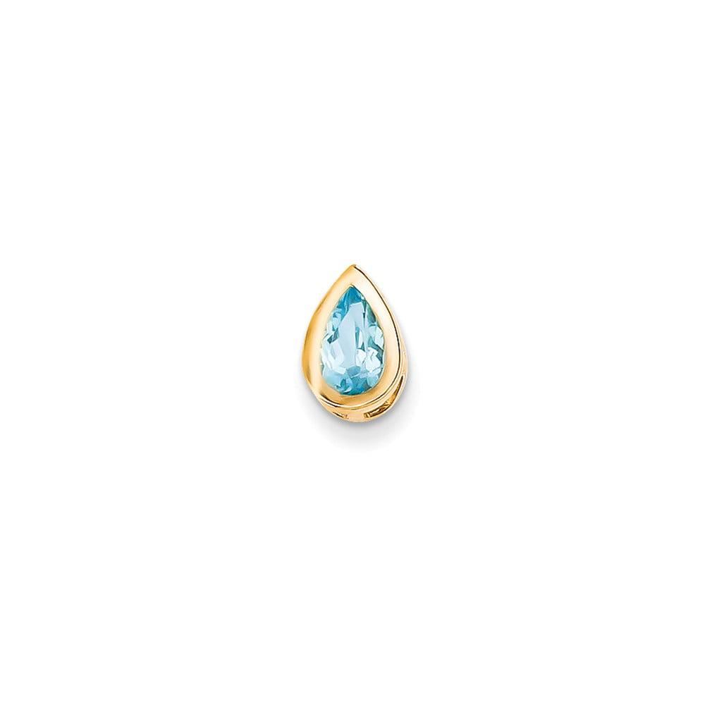 14k Yellow Gold 8x5mm Pear Blue Topaz Bezel Pendant