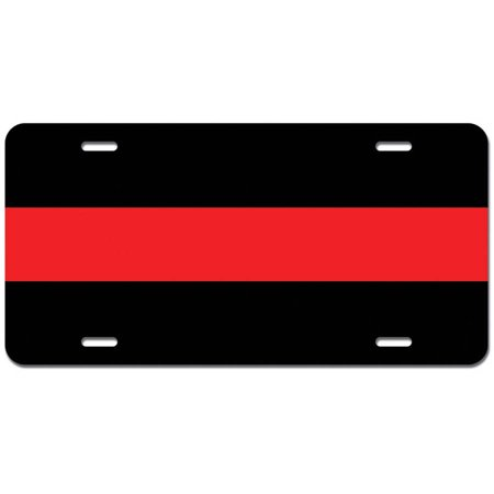 Thin Red Line - Firefighters Firemen Fire Novelty Metal Vanity License Tag Plate - Firefighter Novelties