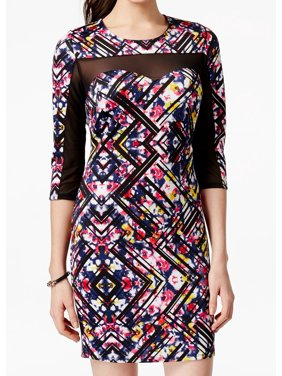 Material Girl NEW Black Small S Junior Printed Illusion Sheath Dress