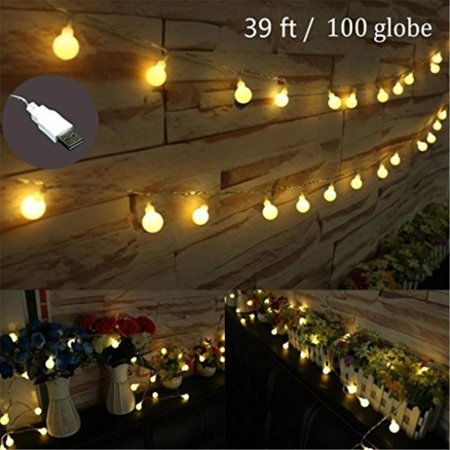 Amars Bedroom Garden Usb Fairy Globe String Lights Curtain Window 12m 39ft Frosted White Led