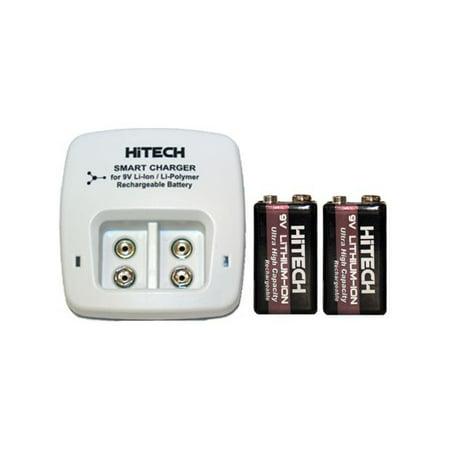2 Bay 9 Volt Li-Ion / Li-Po Smart Charger + 2 x HiTech 9 Volt Lithium Ion Batteries (600 mAh) - image 1 of 1