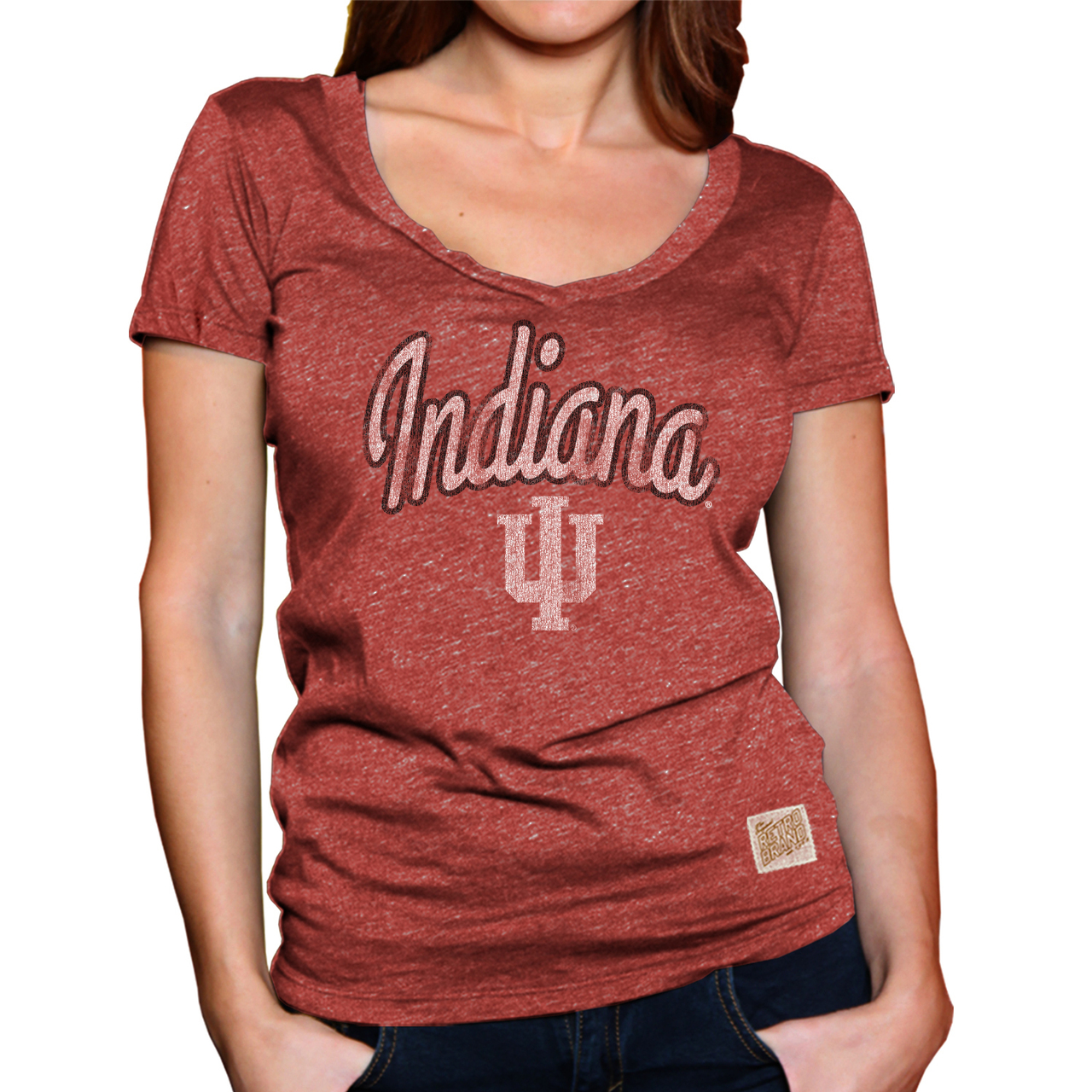 Indiana Hoosiers Womens Soft Triblend V-Neck T-Shirt - Red