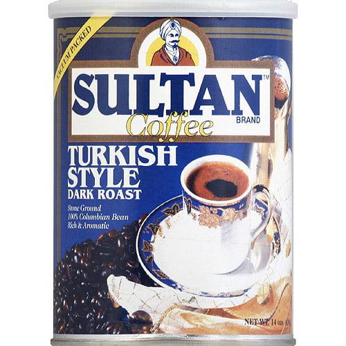 Sultan Brand Turkish Style Dark Roast Ground Coffee, 14 oz, (Pack of 6)