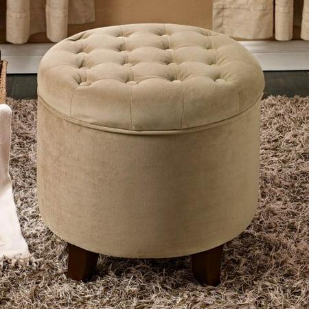 Kinfine Usa Large Round Button Tufted Storage Ottoman
