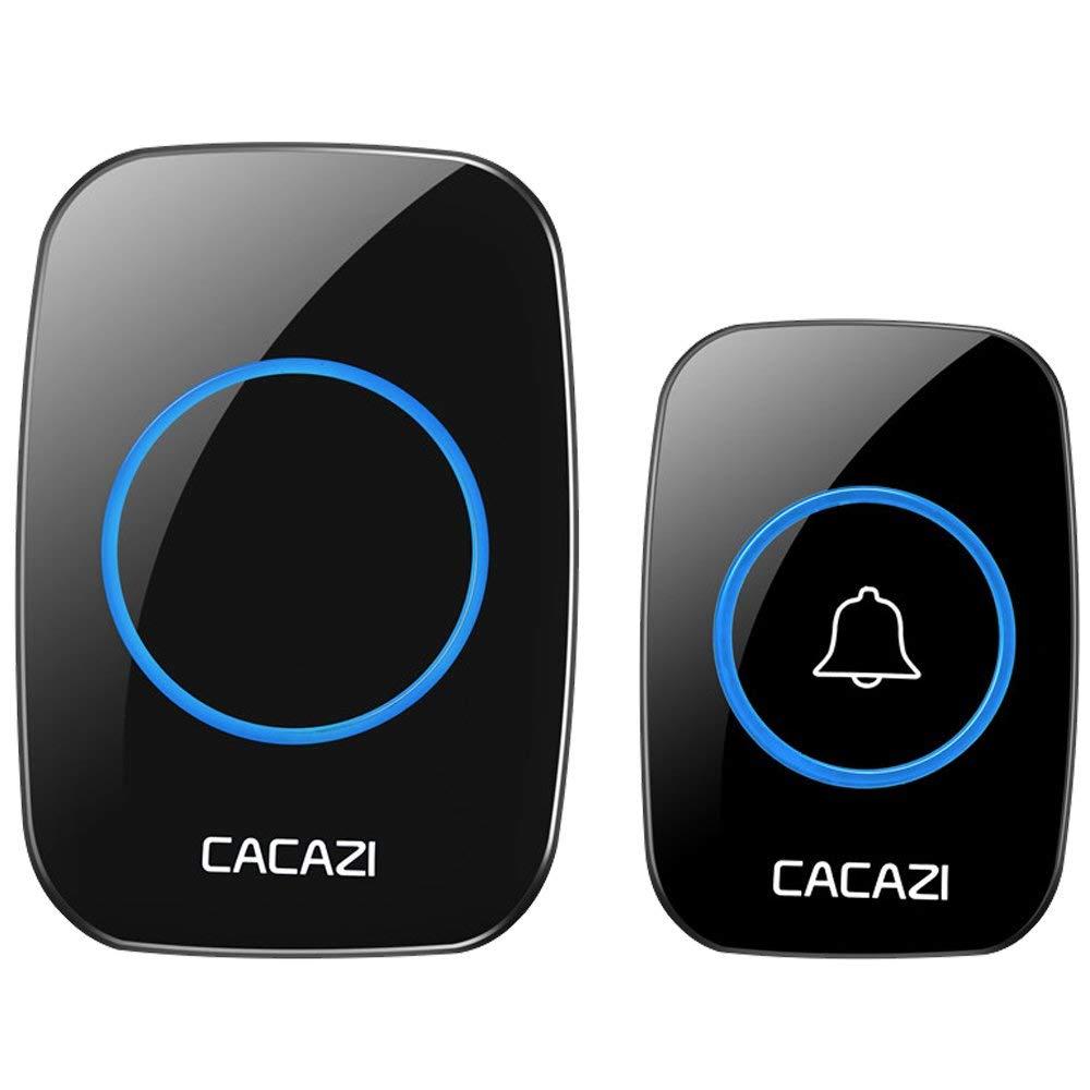 Wireless Doorbell Waterproof Chime Kit Remote Control Doorbell Button Door Bell with1000ft Operating Range -38 Different Ringtones -3 Level Adjustable Volume -Easy Installation-Black
