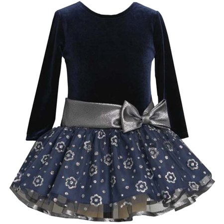Little Girls 2T-6X Navy-Blue/Black/Silver Stretch Velvet to Glitter Mesh Drop Waist Dress, 4T [BNJ03748]