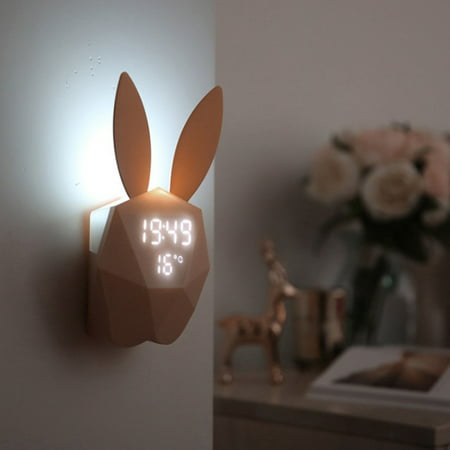 Digital Alarm Clock Watch Thermometer, Time Led Display Sound Control Rechargeable Night Light Cute Rabbit Shape for Home Decoration
