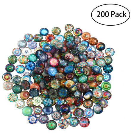 ROSENICE 200pcs 12mm Mixed Round Mosaic Tiles for Crafts Glass Mosaic Supplies for Jewelry (Distinctive Glass Tile Mosaic)