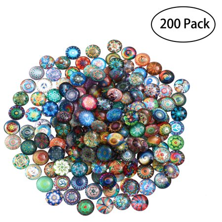 ROSENICE 200pcs 12mm Mixed Round Mosaic Tiles for Crafts Glass Mosaic Supplies for Jewelry Making