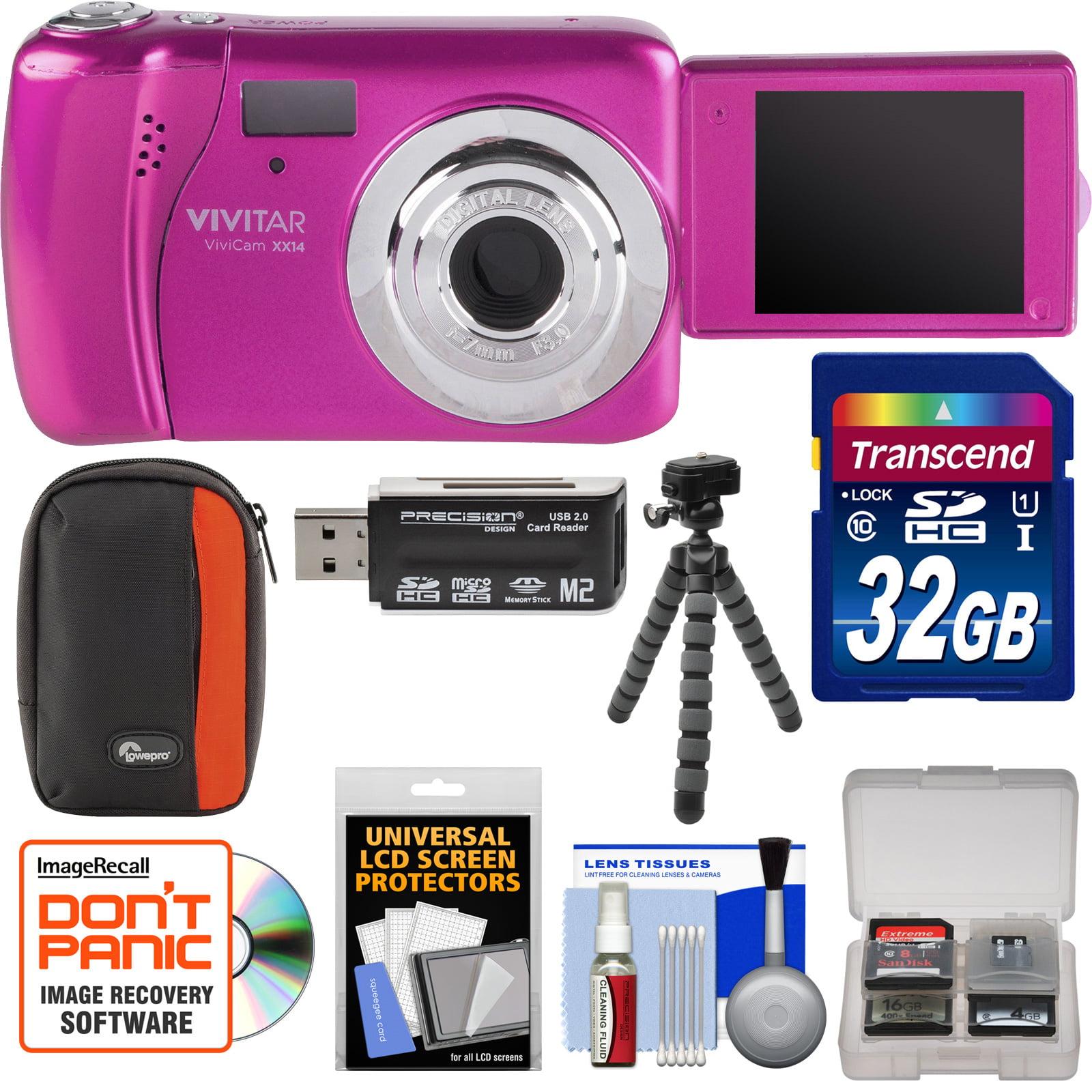 Vivitar ViviCam VXX14 Selfie Digital Camera (Pink) with 32GB Card + Case + Flex Tripod + Reader + Kit