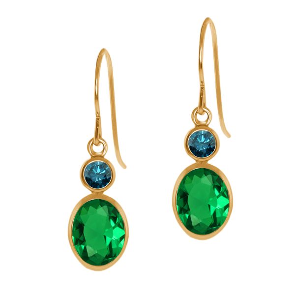 1.44 Ct Oval Green Nano Emerald Blue Diamond 14K Yellow Gold Earrings