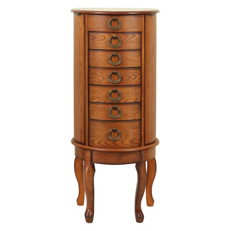 Powell Burnished Oak Round Jewelry Armoire
