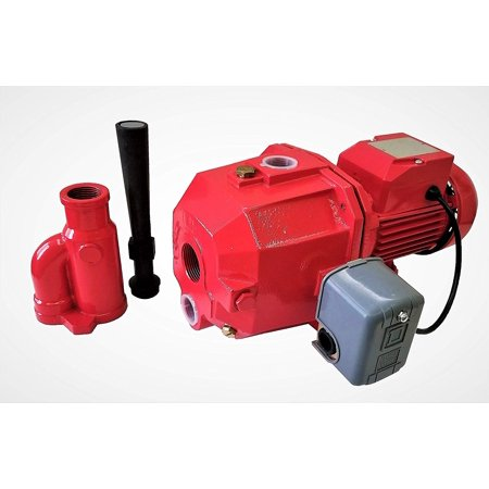 - Convertible Deep Well Jet Pump, 1 hp Dual V, Brass Impeller, with Pressure Switch, Nozzle, Adaptor, Red, Cast Iron