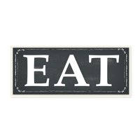 The Stupell Home Decor Collection EAT Black and White Wall Plaque Art