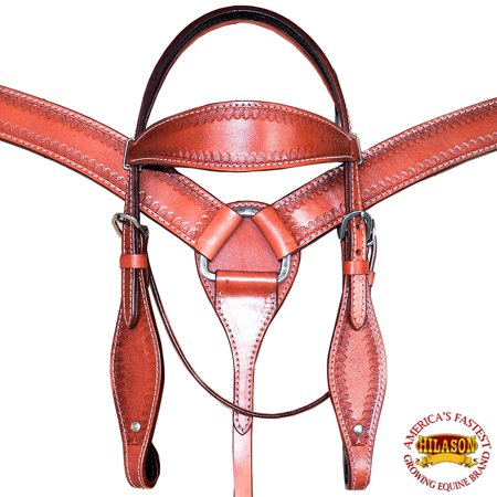 HILASON WESTERN LEATHER HORSE HEADSTALL BREAST COLLAR MAHOGANY BORDER DESIGN
