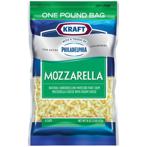Kraft Mozzarella Shredded Cheese With A Touch Of Philadelphia Cream Cheese, 16 oz