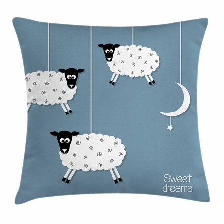 Sweet Dreams Throw Pillow Cushion Cover, Hanging Sheep Star and Crescent Moon Sleeping Themed Illustration, Decorative Square Accent Pillow Case, 16 X 16 Inches, Slate Blue Black White, by Ambesonne (Sweet 16 Black And White Theme)