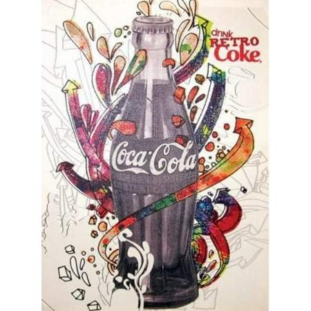 Coca Cola Coke Drink Retro Coke Glitter Canvas Westland Wall Art (Westland Address)