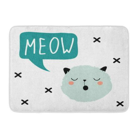 GODPOK Cloud Animal Cute Cartoon Cat Head with Speech Bubble Meow Funny Emoticon Abstract Character Conversation Rug Doormat Bath Mat 23.6x15.7 - Funny Bobble Head