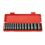 TEKTON 1/2 Inch Drive Deep 6-Point Impact Socket Set, 14-Piece (11-32 mm) | 4885