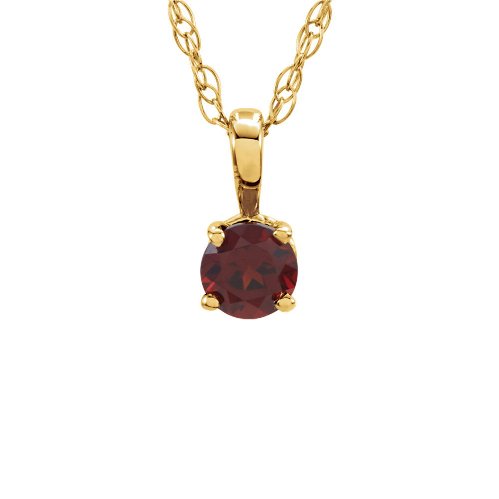 Youth 3mm Round Mozambique Garnet Necklace in 14k Yellow Gold, 14 Inch by Black Bow Jewelry Company