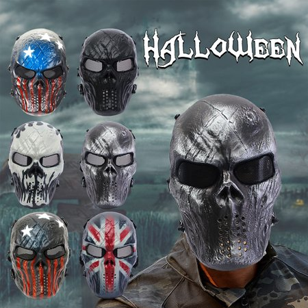 - Face Protection Airsoft Elfeland Tactical Gear Mask Overhead Skull Skeleton Safety Guard Outdoor Paintball Hunting Cs War Game Combat Protect for Party Movie Props Sports Activity