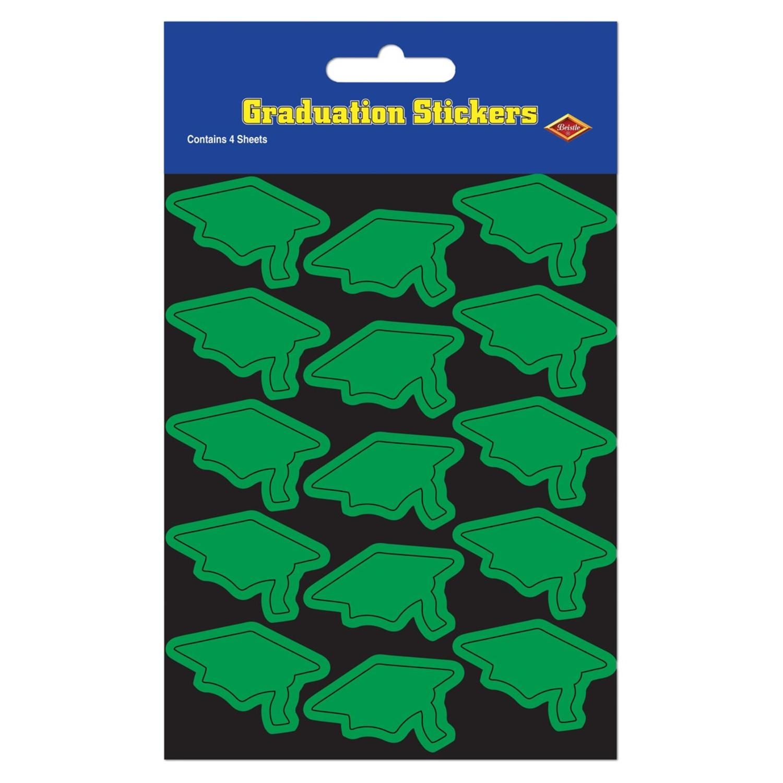 "Club Pack of 48 Green Mortarboard Graduation Cap Sticker Sheets 7.5"""