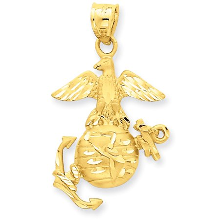 14k Yellow Gold US Marine Corps Open Back Pendant Charm ()