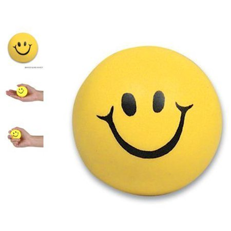 24 pc Pack - Yellow happy Stress Balls - squeeze balls - Superhero Stress Ball