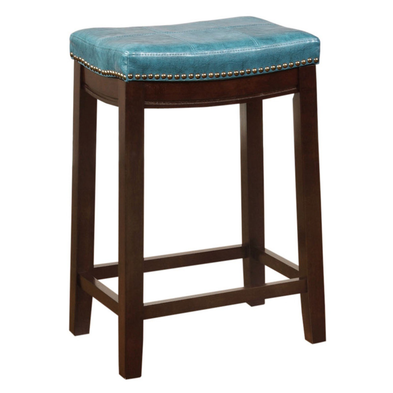 Linon Claridge Backless Counter Stool Blue 24 Inch Seat