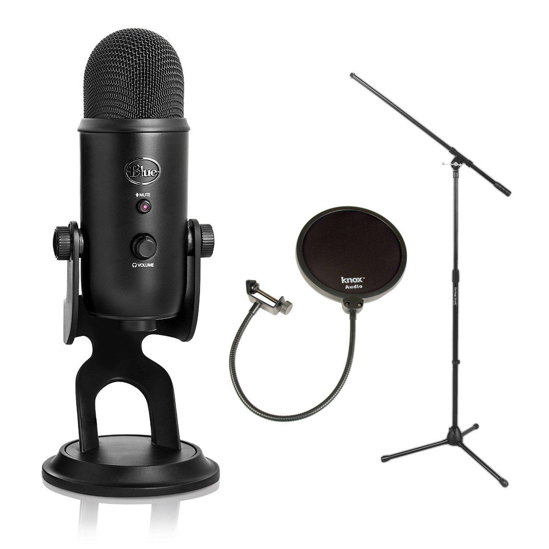 Blue Mics Yeti 16-bit USB Microphone(Blackout) with Stand...