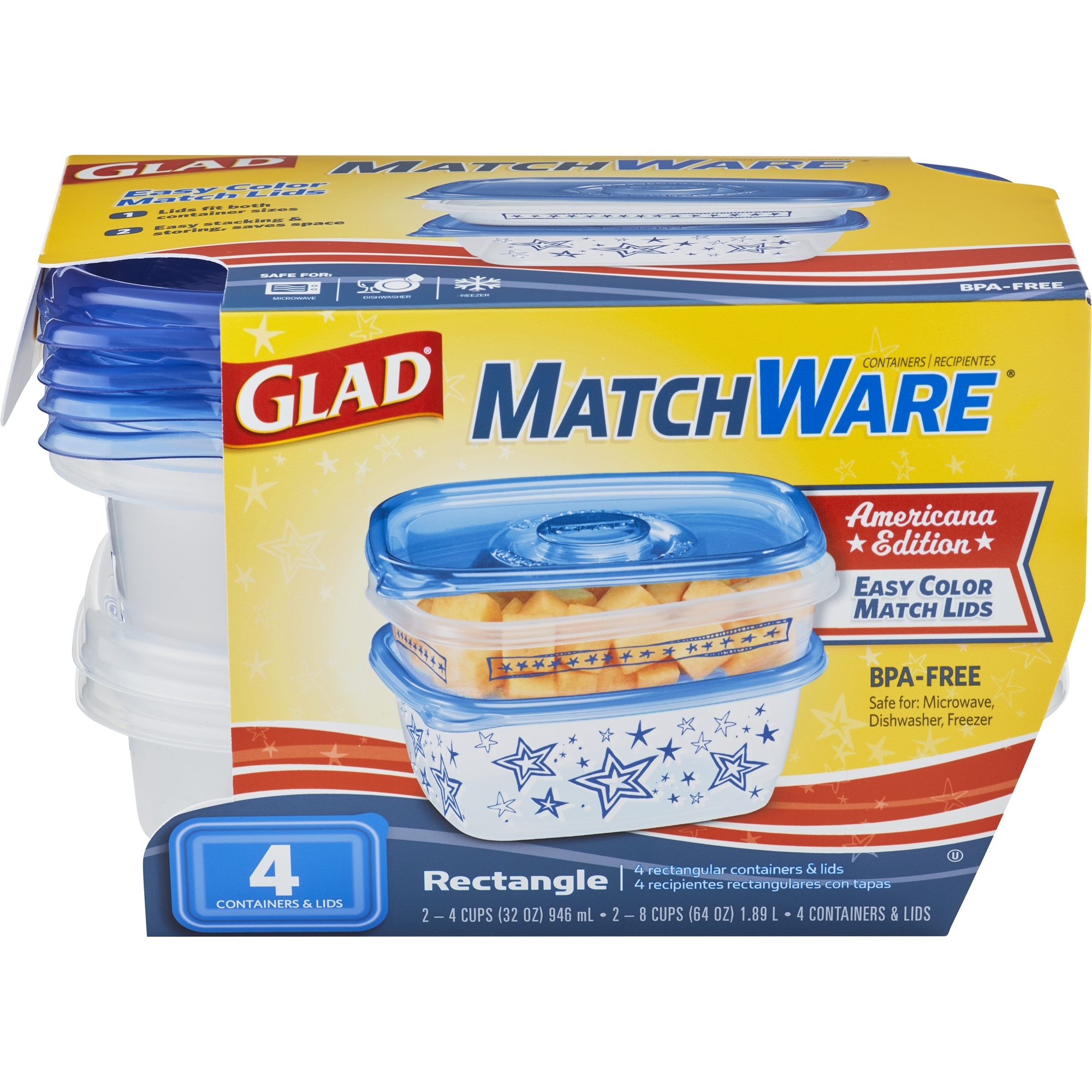 Glad Food Storage Containers MatchWare Rectangle Two 32-oz Two 64-  sc 1 st  Walmart & Glad Food Storage Containers MatchWare Rectangle Two 32-oz Two 64 ...