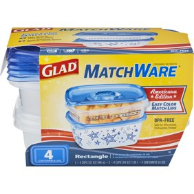 2 Pack Glad Food Storage Containers Matchware Rectangle Two 32 Oz 64