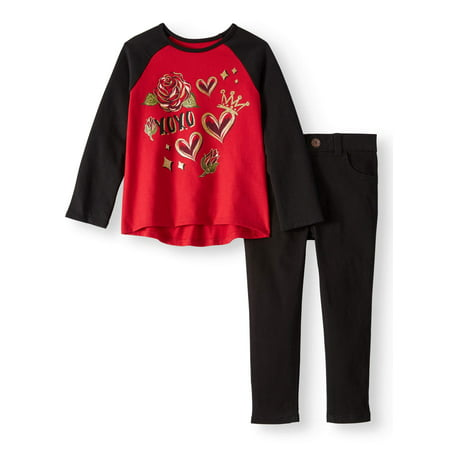 Long Sleeve Hi Lo Raglan & Skinny Jeans, 2pc Outfit Set (Toddler Girls) - German Girl Outfits