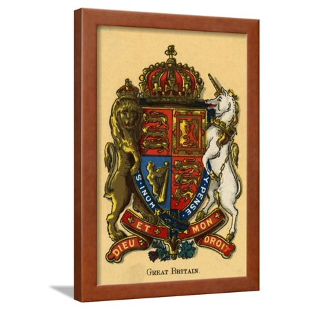 United Kingdom and Great Britain's Coat of Arms Framed Print Wall